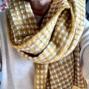 Cozy Mustard Cream Knit Shawl Scarf Wrap Oversized